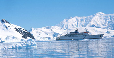 The Maria Yermolova, our Russian vessel, in Paradise Bay, Antarctica January 2001.