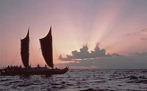 The Polynesian voyaging canoe Hokule'a visits the NWHI. Credit: Monte Costa