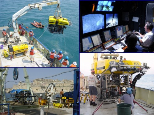 Collage of images from the 2003 Black Sea expedition showing (clockwise from upper left): Hercules lowered into the water; control van where pilots and navigators sit (courtesy of IFE); a front view of Hercules; Argus on the fantail, as the R/V Knorr leaves Malta for the Black Sea.