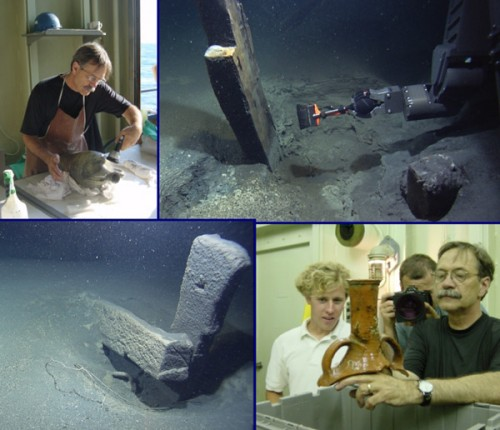 Collage of artifact and shipwreck images from the 2003 Black Sea expedition showing (clockwise from upper left): Dennis Piechota prepares an amphora for conservation; Hercules' manipulator arm brushes away years of sedimentation from a wood post, just like an archaeologist; Dennis Piechota and Todd Gregory, an ROV pilot, examine a piece of amphora during conservation; well-preserved wood frames, complete with tool marks. (Underwater images courtesy of IFE.)