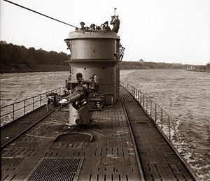 The conning tower and forward deck gun of the <em>U-166 </em>, viewed from the foredeck as the boat was transiting the Kiel Canal between the Baltic and North Seas. (Image courtesy of the PAST Foundation and the D-Day Museum, New Orleans.)