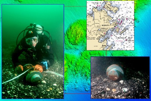 Archaeological diver with an artifact from the wreck of the  Kad'yak, and a close-up of the artifact that had the name of the Russian ship scribed in Cyrillic. The background depicts some of the bathymetry mapped by the NOAA Ship Rainier </em>using multibeam sonar. (Courtesy of East Carolina University and NOAA's Office of Coast Survey.)