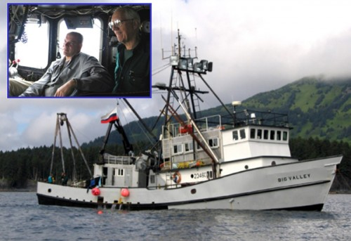 The F/V Big Valley on station at the Kad'yak wreck site, with an inset of the captain Gary Edward and maritime professor Dr. Tim Runyan on the vessel's bridge. (Courtesy of Tane Casserly, NOAA/NMSP.)