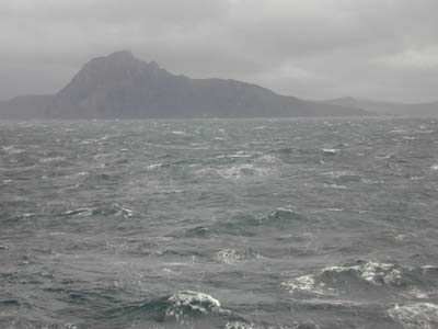 Cape Horn on an unusually calm day (December 28, 2000). We are within two miles of the Cape.