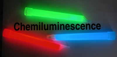 Figure 14 - Light sticks are an example of chemiluminescence. Bioluminescence is another form of chemiluminescent but the chemicals in light sticks are not related to those produced by animals. Photo credit: Edith A. Widder Harbor Branch Oceanographic Institution.